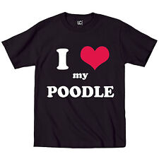 I Heart Love My Poodle Dog Breed Puppy Pet Parent Puppies Animal Mens T-Shirt