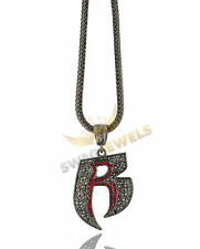 "Iced Out Gunmetal RUFF RIDERS 'R' HipHop Pendant Necklace 30"" & 36"" Franco Chain"
