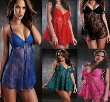 Sexy Women Lingerie Nightwear Underwear Sleepwear Babydoll+G String Lace Dress