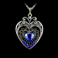 Fashion Retro Crystal Heart Pendant Necklace Long Sweater Chain Rhinestone Gift
