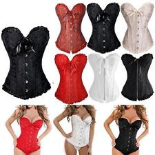 Sexy Bustier Boned Corset Burlesque Basque Lace Up Rouge Lingerie S-6XL