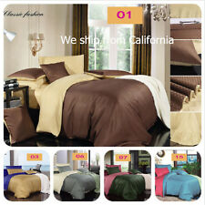 Luxury 4 Piece Bed Sheet Set Duvet cover Pocket 12 Colors Twin Queen King Size