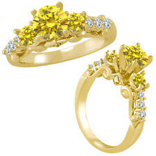 1 Ct Yellow Diamond 3 Stone Eternity Engagement Wedding Ring 14K Yellow Gold