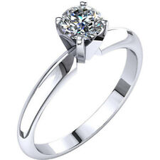 0.76ct Diamond Engagement Ring Solid 14K White Gold Solitare