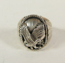 Navajo Indian Eagle Sterling Silver Native USA Mens Ring S Ray Fascine Jewelry