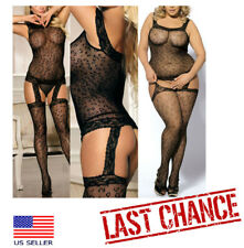 Leopard Animal Print Bodystocking Crotchless Garters Thigh Highs Stockings USA