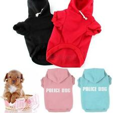 XS-3XL Pet Costumes Police Dog Printed Hoodie Dog Cat Coat Sweater Pullover U47