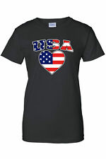 Women's T-Shirt USA Flag Pride w/ Love Heart Juniors Patriotic Red WHITE Blue