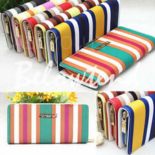 Fashion New Lady PU Leather Stripe Long Wallet Clutch Handbag Zipper Purse Brand
