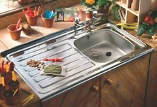 Contract Kitchen Sink Sit/Lay On Square Front Single Bowl Drainer 1000x500mm TAP