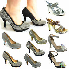 WOMEN LADY DIAMENTS CRYSTAL MID HEEL WEDDING PARTY EVENING BRIDAL PROM SHOES3-8