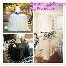 Round,Square tablecloth, Sequin Wedding overlay tablecloth, White, Black, Beige