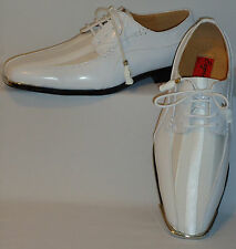 Mens Gorgeous White Satin Stripe Silvertip Dress Shoes Expressions 4925
