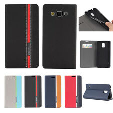 Luxury Tri-Color Flip Leather Wallet Stand Case Card Cover For Samsung Galaxy