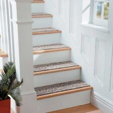 """9"""" x 36"""" Scroll Washable Stair Treads Non Slip Carpet Set of 4 Comes in 4 Colors"""