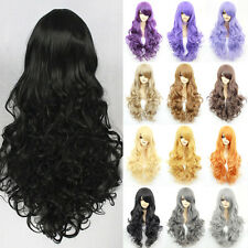 New Anime Wigs Cosplay Costume Dress Full Wig Curly Wave Red Pink Gray Blond Wig