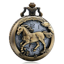Retro Steampunk New Zodiac Hollow Pocket Watch Necklace Chain Women Men's Gift