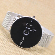 New Classic Turntable Dial Steel/Mesh Quartz Wrist Watch Women Men Gifts PAIDU