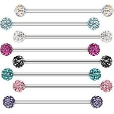 Industrial Barbell Tiffany Gem Clear AB Aqua Cartilage Piercing CZ Body Jewelry