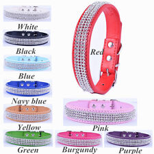 Fashion 10Colors Pu Leather Dog Collar Bling Rhinestone Collar For Dogs Size S M