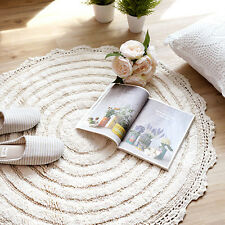 36' Crochet Round Floor Mat Rug Door Carpets Bath Home Indoor Kitchen Cotton Tub