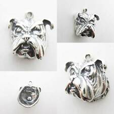 Bull Dog Head 925 Sterling Silver Charm Pendant w Spacer / Bracelet / Necklace