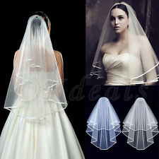 New Elegant 2T White or Ivory Wedding Bridal Elbow Satin Edge Veil With Comb BE