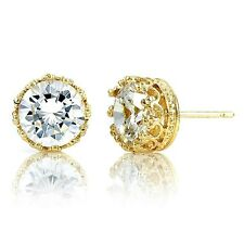 316L Surgical Stainless Steel Round CZ Clear  Crown Set Gold Stud Earring