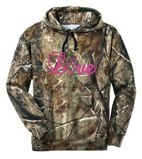 Ladies Cursive Love Heart Camo Hoodie Country Girl Buck Outdoor Hunt Gun Pink