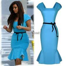 New Womens Ladies Peplum Dresses Bodycon Pencil Skirt Falbala Party Dresses WST