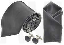 MENS GRAPHITE GREY SILKY SATIN TIE, or HANDKERCHIEF or CUFFLINKS or FULL SET