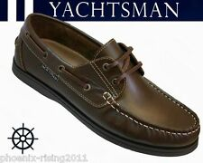 BIG SIZES 12 13 14 MENS REAL LEATHER YACHTSMAN SEAFARER BROWN LACE UP DECK SHOE