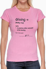 Definition of Driving - Women's Custom Cotton Graphic Tshirt Black Ink on Pink