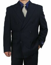 SHARP 2pc DOUBLE BREASTED DB MEN DRESS SUIT NAVY 36S-48L tb06