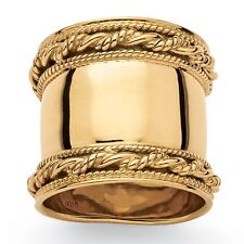 Cigar Band-Style Ring With Rope Detail in 18k Yellow Gold Over Sterling Silver