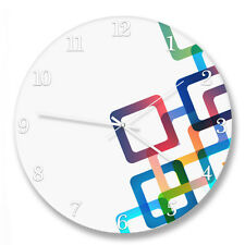 "30cm ""Colourful Squares"" circle wall clock with metal hands"