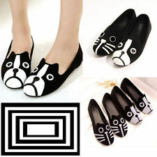 New Fashion Women Personality Cute Dog Face Loafers Low Heel Ballet Flats Shoes