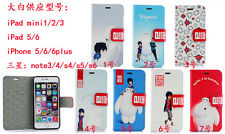 For iPhone 5 S 6 Plus,Cartoon Big Hero Baymax Leather Wallet For S5 S6 Note 3 4