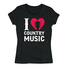 I Love Country Music Heart Cowboy Cowgirl Rural Nashville Novelty Womens T-Shirt