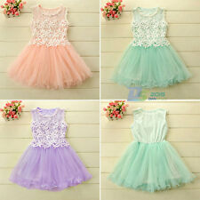 Summer Flower Dress Lace Princess Skirt Fit for 6Months-5Years-Old-Baby Girls