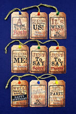 Funny Small Metal Wine / Alcohol Drink Personal Dinner Birthday Party Gift Tags