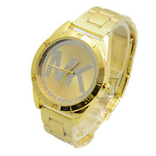 Womens Men's Quartz Wirstwatch Golden Round Satinless Steel Analog Fashion watch