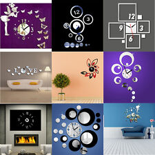 New Style Home Acyrlic Mirror Surface Living Room Office Wall Clock Sticker