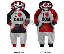 New Infant Baby Boy Girls Clothes Love Mom Dad Long Sleeve Hooded Romper 6-24M