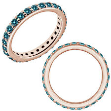 0.35 Carat Blue Diamond Wedding Eternity Beaded Classic Band 14K Rose Gold