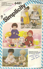 Vintage Simplicity Doll's Dress Coat Overalls Shirt Sewing Pattern 6481