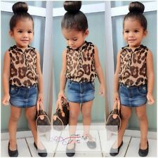 New Baby Girls Clothing Set Leopard Shirt + Denim Blue Skirt 2 Pcs/Outfit Suit