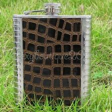 8oz Leather Stainless Steel Flask Liquor Alcohol Whisky Holder Bottle Tool New