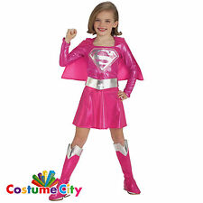 Childs Girls Official Pink Supergirl DC Super Hero Fancy Dress Costume