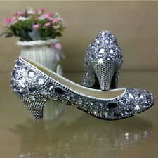 Gorgeous Handmade Bling Rhinestone Crystal Low Heel Bridal Shoes Wedding Shoes